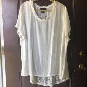 Lane Bryant off white top w/open crochet back